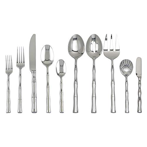 - Supreme 45-Piece 18/8 Stainless Steel Bamboo Flatware Set, Service for 8, Include Knives/Forks/Spoons/Teaspoons/Salad Forks/Serving Fork/Serving Spoon/Butter Knife/Sugar Shell, Mirror Polished