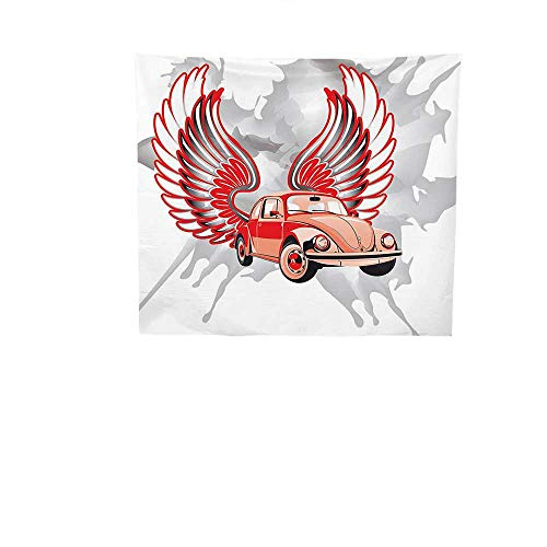Apestry Home Decor (39W x 39L Inch Wall Hanging Bedroom Living Room DormCars Decor Hippie Dated Beetle Car Wings Once Sixties Freedom Revolution Symbol Icon Boho Print Red Grey. (Revolution Bohemian)