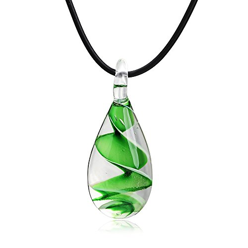 VEINTI+1 Exotic Style Eye-catcher Handmade Waterdrop with Spiral Design Glass Necklace (Green) (Spiral Design Necklace)