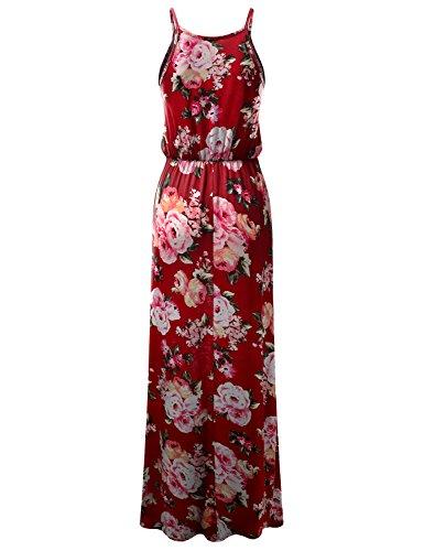 with Women Dress USA Awdmd0224 in Made Doublju Slit Maxi Halter Plus Neck Side Stretchy Size burgundyrose for YUqqZ86z