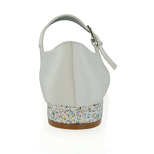 Glitter Low Pumps White Essex Women's Bridal Satin Glam Heel Heel Satin wCXAxPqgB