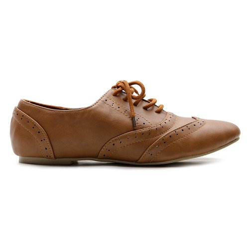 Ollio Women Shoes Classic Lace up Dress Low Flat Heels Oxford M1914(9 B(M) US, Brown) by Ollio (Image #1)