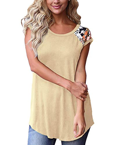 - Womens Shirts Short Sleeve Floral Tops Spring Clothes Casual T Shirts Apricot L