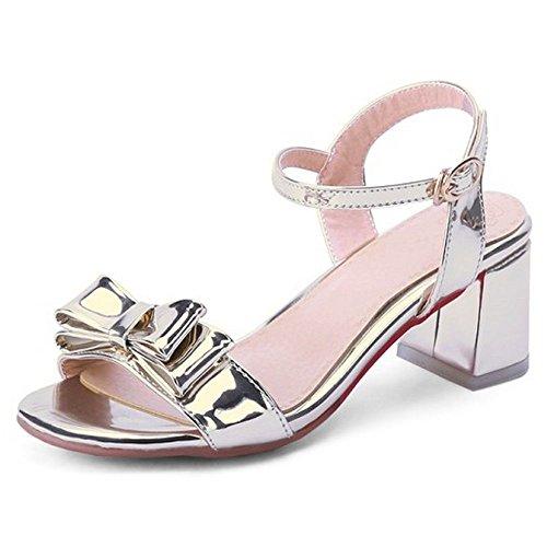 para Sandalias lazo tobillo alto LongFengMa zapatos el de en y mujer tacón de correa dorados fiesta con dulce y 7zYAzqrw