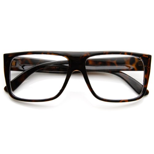 zeroUV - Casual Fashion Basic Rectangular Flat Top Clear Lens Glasses - Skrillex Glasses