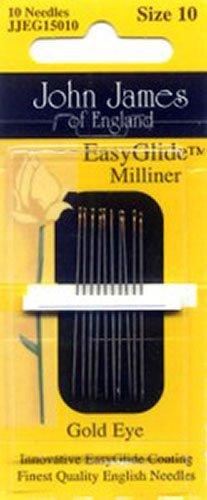 (John James Easy Glide Gold Eye Milliners Needles Package of 10)