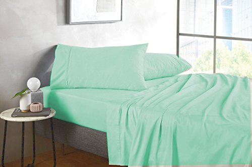 SplendidHome 400 TC Thread Count 6 Piece (Full XXL, Mint Green) Sheet Set 21 inch Deep Pocket - Hotel Quality 100 Percent Cotton Sateen Long Staple Single Ply ()