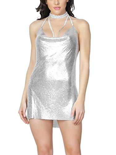 Chain Back Dress (S Curve Women's Sleeveless Chain Halter Metal Backless Party Dress Silver Large)