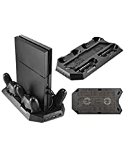For PlayStation 4 PS4 - 4 Controller Chargers, 2 Cooling Fan, 4 USB 3.0 Ports Vertical Console Stand