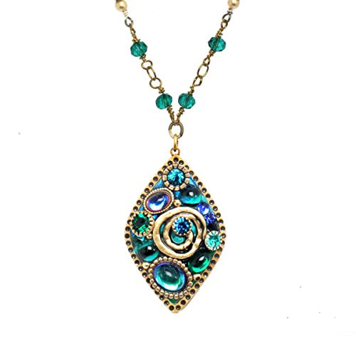 Michal Golan Green & Blue Swarovski Crystal Mosaic Beaded Goldtone Necklace