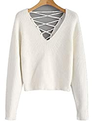 Zaful Women Sexy Sweater V Back Lace Up Crop Sweaters Long Sleeve Knit Pullovers Drop Shoulder Casual Tops White M