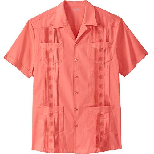 KS Island Men's Big & Tall Short-Sleeve Guayabera Shirt, Melon Big-4XL