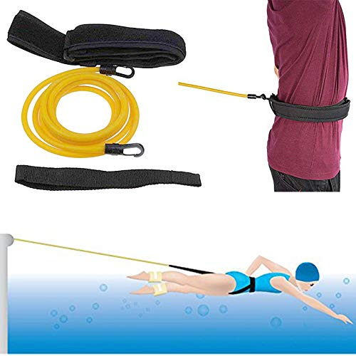 Meanhoo Swim Training Belts- Swim Tether Stationary Swimming, Swim Harness Static Swimming Belt, Swim Bungee Cords Resistance Bands