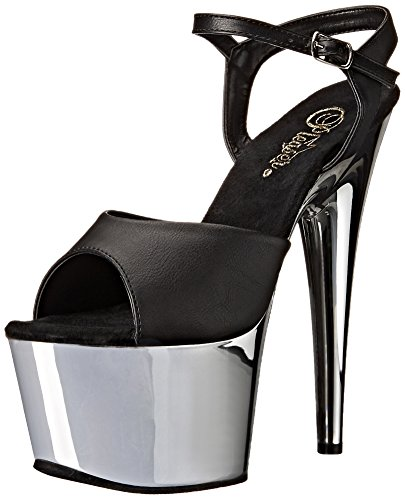 Pleaser ADO709/BPU/SCH Women's Platform Dress Sandal, Black Faux Leather/Silver Chrome, 6 M US