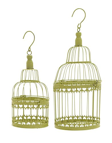 Deco 79 Metal Round Bird Cage, 19 by 15-Inch, Green,