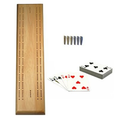 Natural Solid Wood Competition 2 track Cribbage Board with Sprint Track, Metal Pegs & Cards - 16 Inch Board