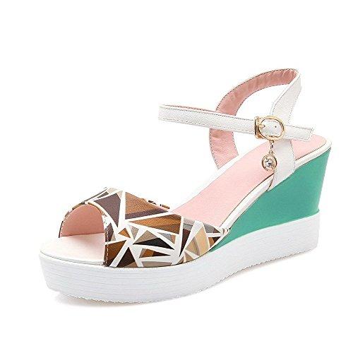 AllhqFashion Women's Buckle Open Toe High Heels PU Assorted Color Sandals White