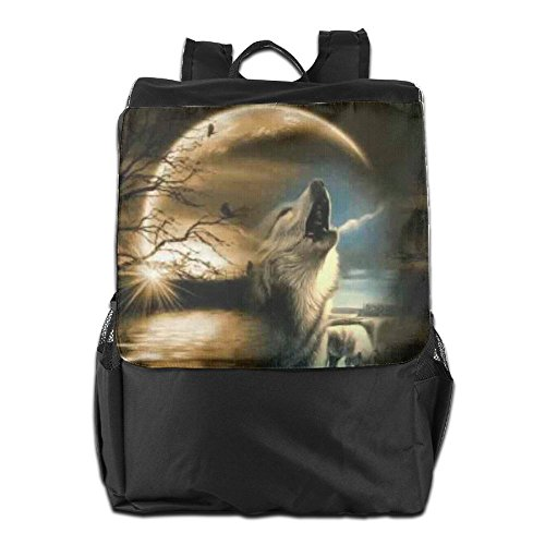HSVCUY Personalized Outdoors Backpack,Travel/Camping/School-Wolf Howling Under The Moon Adjustable Shoulder Strap Storage Dayback For Women And Men