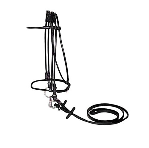 (Paris Tack Rolled Bridle with Rolled Reins-Opulent Series, Full, Black)