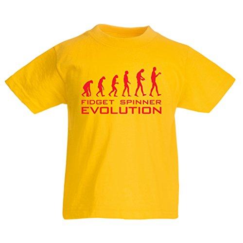 lepni.me Camiseta Niños/Niñas La evolución - Fidget Spinner (1-2 Years Amarillo Rojo)