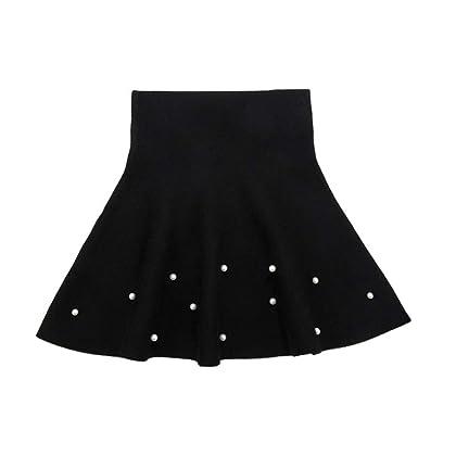 fe7567aa795d Girls High Waist Knitted Flared Pleated Skater Skirt Casual Beadings Mini  Skirt Black-B Tag 150 (11-12 Years)