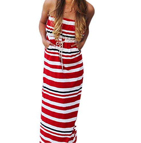 Gotd Women Summer Strapless Fashion Casual Beach Long Dress (L, Red)