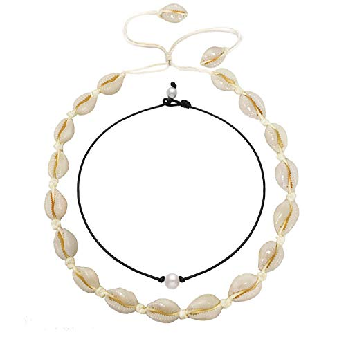 YINL Shell Choker Necklaces Natural Handmade Boho Beach Shell Necklaces Genuine Pearl Beads Chokers Leather Cord Hawaiian Style Choker Necklace for Women Men