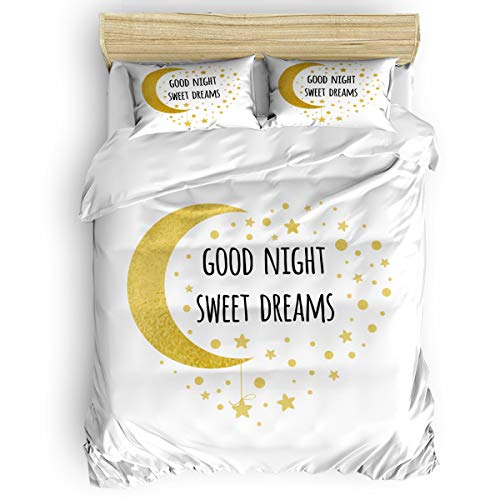 (Arts Language Home Duvet Cover Set Queen Size for Kids/Adults/Teens Good Night Sweet Dreams Moon and Stars Soft 4 Pcs Bedding Set with Duvet Cover, Fitted Sheet, Pillowcases)