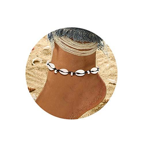 BSJELL Beach Shell Anklets Handmade Natural Puka Cowrie Ankle Bracelet Boho Seashell Beaded Foot Jewelry for Women Girls