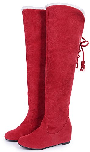 Odema Women Over The Knee High Bootie Suede Warm Lace-Up Increase Insole Wedge Snow Boots Red ooON7Qw