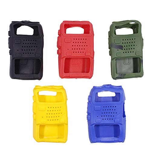 BAOFENG 5 Color/Pack Handheld Soft Rubber Case Portable Silicone Cover Shell UV-5X3 UV-F8HP UV-5R Series Two Way Radios (Black,red,Blue,Yellow,Camouflage)