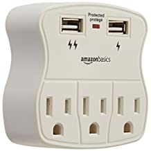 AmazonBasics 3-Outlet Surge Protector with 2 USB Ports