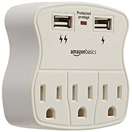 AmazonBasics 3-Outlet Surge Protector with 2 USB Ports 15 3-outlet surge-protector wall tap with 900 joules of surge protection Includes 2 USB ports-a 1.0A USB and 2.4A USB (great for charging a smartphone and tablet) Keeps plugged-in devices safe from excess voltage during an AC power surge