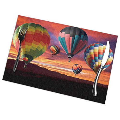Placemats for Dining Table Set of 6 Hot Air Balloons Wear-Resistant Heat-Resistant Kitchen Table Mats 18