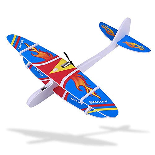(MOGOI Hand Throw Flying Glider Planes, Upgraded Throwing Foam Airplane Toys Dual Flight Electric Flying Glider Inertia Plane with Manual Circling Functions - Rechargeable Aircraft)