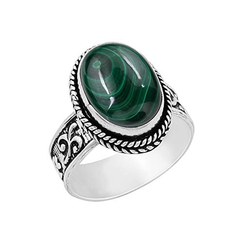 (Genuine Oval Shape Malachite Solitaire Ring 925 Silver Plated Vintage Style Handmade for Women Girls)