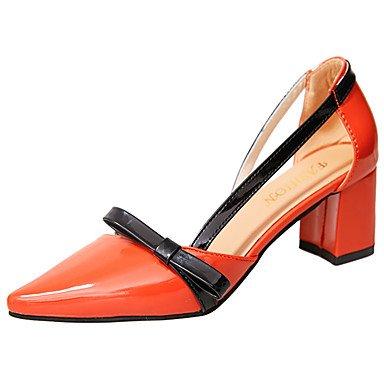 YFF Sandales femmes Talon bas, Orange, Boucle US8