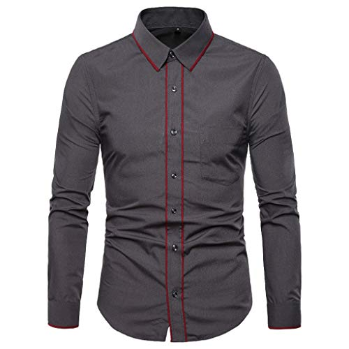 (haoricu Men's Blouse Tops Men's Tailored Fit Check Dress Shirs Long Sleeve Button Down Shirts Work Party Dark Gray)
