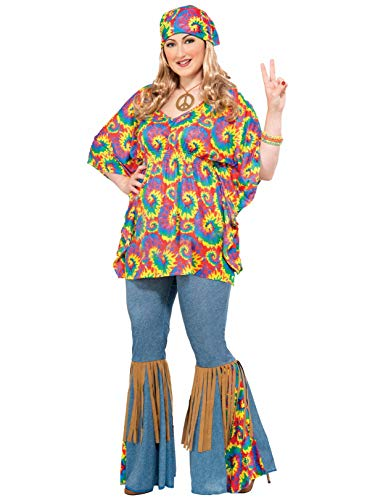 Forum Novelties Women's Plus-Size Hippie Chick Plus Size Costume, Multi, Plus -