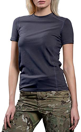 281Z Womens Tactical Stretch Cotton Underwear T-Shirt - Hiking Outdoor Workout - Punisher Combat Line (Graphite, Large)