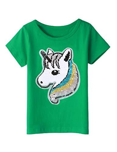 Girl's Unicorn Tee Shirts Kids & Toddler Summer Short Sleeve Flip Sequin T-Shirt Tops Green