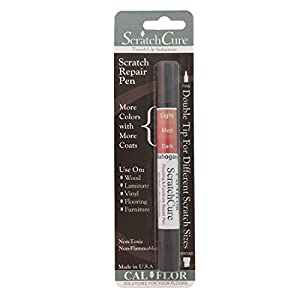 Cal-Flor PE49405CF ScratchCure 3 Shade Double Tipped Repair Pen for Use on Wood, Laminate, Vinyl, Flooring & Furniture, Mahogany