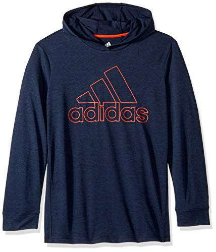 adidas Boys' Big Athletic Pullover Hoodie, Collegiate Navy Heather, XL(18/20) - Collegiate Hooded Pullover