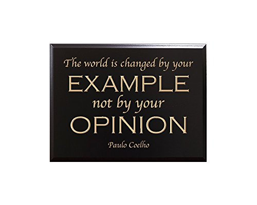 The world is changed by your EXAMPLE not by your OPINION. Paulo Coelho Decorative Carved Wood Sign Quote, Black