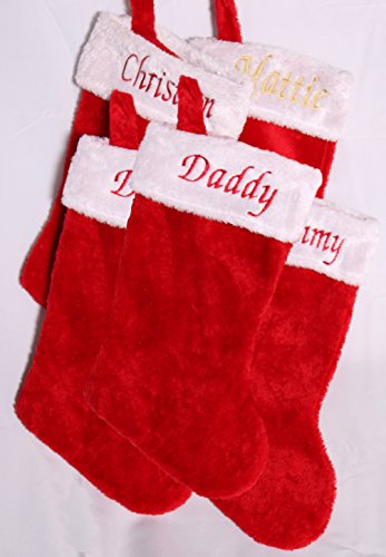 SET OF 5 ~ PERSONALIZED EMBROIDERED Christmas Stockings ~ (Embroidered Green Personalized Christmas Stockings)