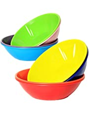 Youngever 28 Ounce Plastic Bowls, Large Cereal Bowls, for Cereal, Soup or Salad, Microwave Safe, Dishwasher Safe, Set of 9 in 9 Assorted Colors