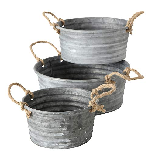 - WHW Whole House Worlds Farmers Market Chubby Tub Planters, Set of 3, Rope Handles, Galvanized Zinc, Rolled Top, Corrugated Sides, Rustic Country Style Containers, 12 1/2, 10 3/4, and 8 3/4 Inches