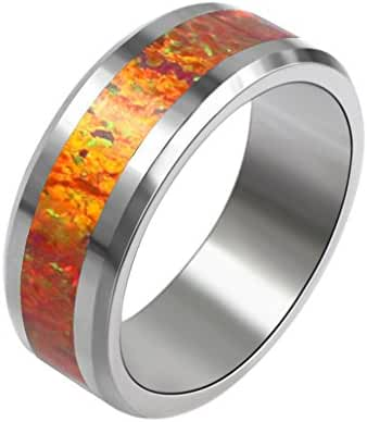 HERMOSA Colored Gemstone Tungsten Steel Rings Red Opal Unique Fashion Rings 7# 8# RWCH0141C