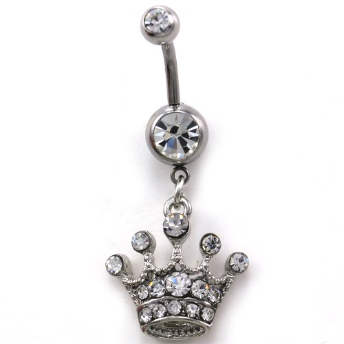 Princess Queen Tiara Crown Belly Navel Ring Barbell Button Body 316L Surgical Steel (Belly Button Ring Display compare prices)