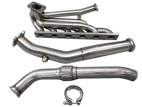 (CXRacing Top T3 Turbo Manifold + Downpipe 92-98 BMW E36 325i 328i GT35 T04E)